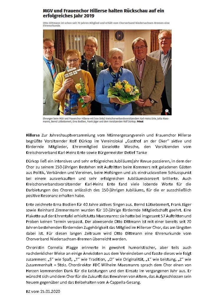 JHV Bericht BZ vom 15.01.20